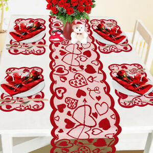 Valentine's Day Table Runner Heart Pattern Table Runner and Placemats Set