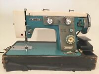 vtg RETRO PRIMARY Teal Blue SEWING MACHINE BELAIR BEL AIR 929B Zigzag Rare wow