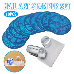 10x Stamping Plate Stencil Template + Nail Art Stamper with Scraper Kit Set Tool
