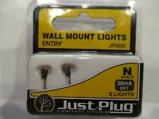 "WOODLAND SCENICS N SCALE WALL MOUNT ENTRY LIGHTS (2) - ""JUST PLUG SYSTEM"""
