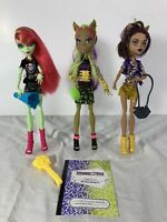 Monster High Doll Lot of 3 Venus McFlytrap Clawvenus Clawdeen Wolf Fusion Stands