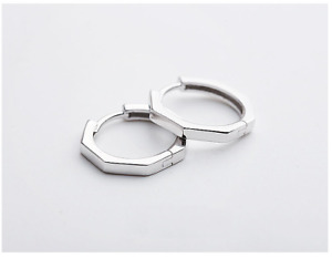 Solid 925 Sterling Silver Octagon Huggie Hoop Earrings Plain 15mm Men Women D25