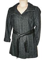 BNWT size 16 M&S Marks & Spencer black /grey Tweed style Funnel neck Ladies coat