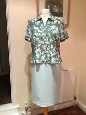 Eastex  2 piece outfit skirt-12 and blouse-14 sage green floral & Palest green
