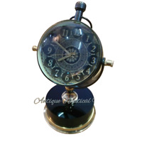 Antique Brass Desk Clock Mechanical Vintage Table Top Decorative