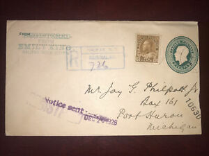 #118 on 1926 stationery registered Cover Halifax N.S. to port Huron Mich. USA