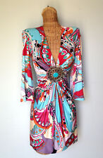 SKY BRAND Silk Knit Pucci Like Print Medallion Sexy Plunging V Neck Mini Dress S