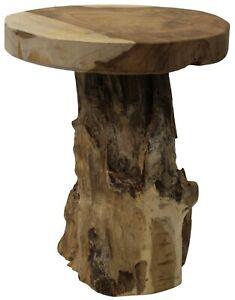 Solid Wood Teak Stool 31cm Tall 25cm Diameter Rustique Handmade