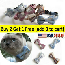 New listing Cute Plaid Pattern Bow Tie Kittens Breakaway Durable Collars With Bell Removable