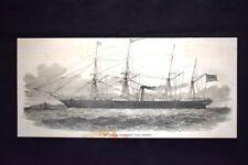 """Il piroscafo a elica """"Città di Manchester"""" Incisione del 1851"""