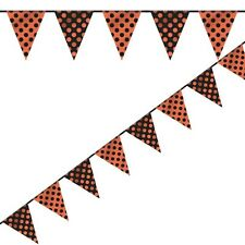 ORANGE AND BLACK POLKA DOT BUNTING BANNER HALLOWEEN PARTIES!