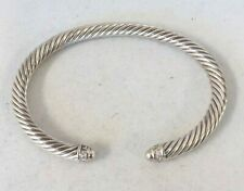 David Yurman 5mm Medium Cable Cuff Sterling Dome And Diamonds Bracelet