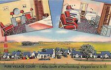 A83/ Harrisonburg Virginia Va Postcard 1952 3View Pure Village Court US11