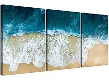 Panoramic Blue Surf Beach - Seascape Canvas Multi 3 Panel - 125cm Wide