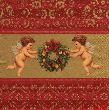 3 SERVIETTES EN PAPIER ANGES COURONNE NOEL OR/DORE PAPER NAPKINS ANGEL CHRISTMAS