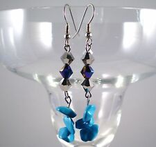 """Earrings Turquoise Blue Howlite Silver Plated Drop 2.5"""" Handmade GB USA New"""