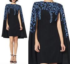 NWT Tadashi Shoji Kariya floral Embroidered Crepe Cape Dress black blue size 8