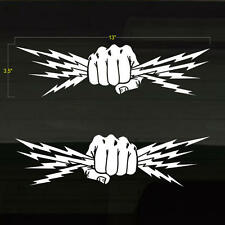 "Fist Lightning Bolts Electrician Power Set of 2 WHITE Decal Stickers 13""x3.5"""