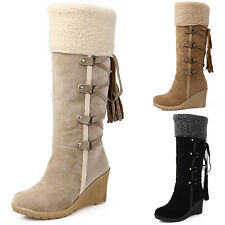 Ladies Mid Calf Wedge Snow Boots Womens Winter Thermal Fleece Lined Cuff Shoes