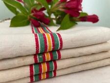 More details for vintage french unused linen metis torchons tea towels red green & orange stripes
