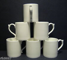 Set Of 6 ROYAL DOULTON CLASSIC SHAPE WHITE CHINA MUG BEAKERS
