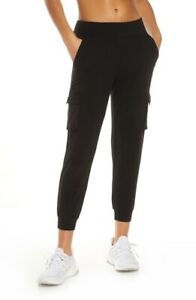 NWT Alo 7/8 High-Waist Cargo Sweatpants - Black - Medium