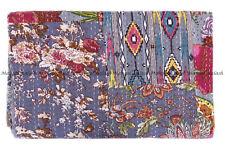 Indian vintage patchwork handmade kantha quilt bohemian king bedspread blanket