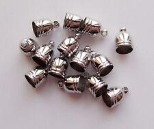 10pz coprinodo terminale in ottone 10x7mm foro 5,5mm colore argento scuro bijoux