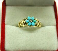 Antiguo Oro 15ct precioso turquesa y diamantes anillo de pelo Medallón de luto