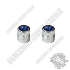 2 Chrome Billet Aluminum Swarovski® Blue Diamond Wheel Valve Stem Dust Caps