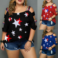 Women Plus Size Tops Casual Flag Print Off Shoulder Slings Sleeve Top T-Shirt
