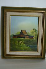 Vintage 1978 Homestead Oil Painting By Everett Woodson
