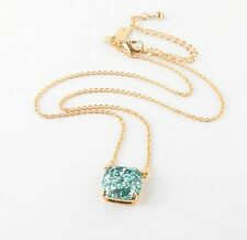 KATE SPADE 12K Gold Plated Turquoise Aqua Glitter Square Pendant Necklace NEW