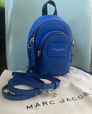 Marc Jacobs Mini Double Zip Backpack Leather Cobalt Blue Royal Dust Bag $365