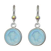 Kirks Folly Glass Dream Angel Leverback Earrings (Silvertone) with Gift Box