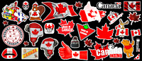 Canada Day - Canadian Flags Contour  Cut Vinyl Sticker Bundle