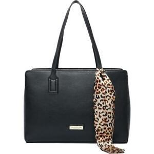 London Fog Womens Montana Black Faux Leather Satchel Handbag Medium BHFO 1457