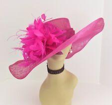 Kentucky Derby Church Wedding Feather Flower Sinamay Wide Dress Hat 58 (Fuschia)
