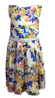 NEW GIRLS BLUE AND LIGHT PINK FLORAL SKATER DRESS SUMMER 7-13 YEARS