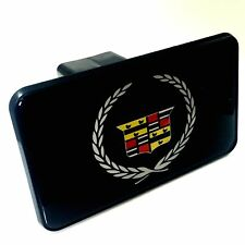 """Cadillac Wreath Logo Tow Hitch Cover Plug w/pin for Car-Truck-SUV 2"""" Receiver"""