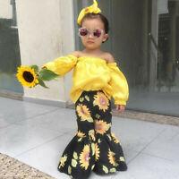 Toddler Kids Baby Girls off-the-shoulder Tops Tee+Floral Bell-bottoms Pants Set