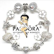 Authentic Pandora Charm Bracelet Silver Bangle With Betty Boop European Charms..
