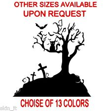 Happy Halloween Gothic Party Scary Tree Vinyl Sticker Decals / Transfer