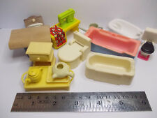 bath toilet and other bits dollshouse plastic mixed lot furniture used vintage