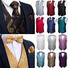 26 Colors Mens Black Gold Gray Blue Purple Waistcoat Tie Set Necktie Bowtie Vest