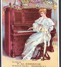 Malcom Love Piano 1890's F Derrick Music Store Rochester Ny Victorian Trade Card