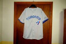 VINTAGE TORONTO BLUE JAYS Mens MLB Gray Button-Down Away Road Baseball Jersey XL