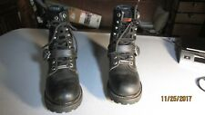 WOMENS HARLEY DAVIDSON BUCKLE AND LACE UP BLACK LEATHER BOOTS SIZE 6