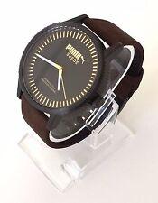 Puma Herren Uhr Suede braun gold schwarz Leder PU104101005