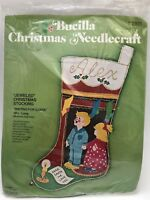 Vintage Bucilla Christmas Needlecraft Waiting for Santa Stocking Kit  #2811